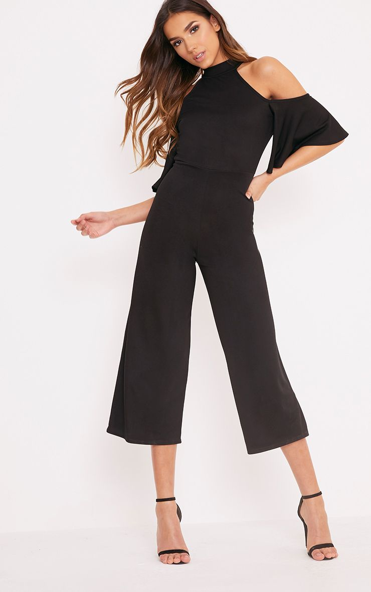 Jaymie Black Cold Shoulder Cullotte Jumpsuit