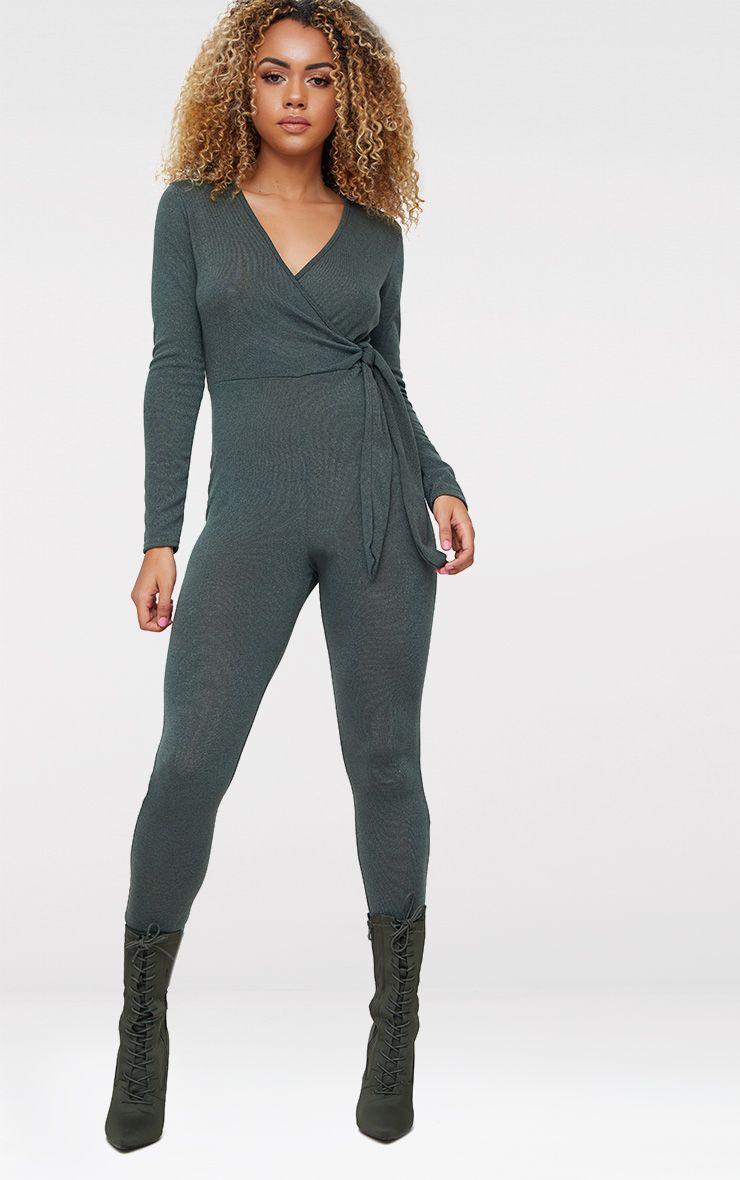 Khaki Knitted Jumpsuit
