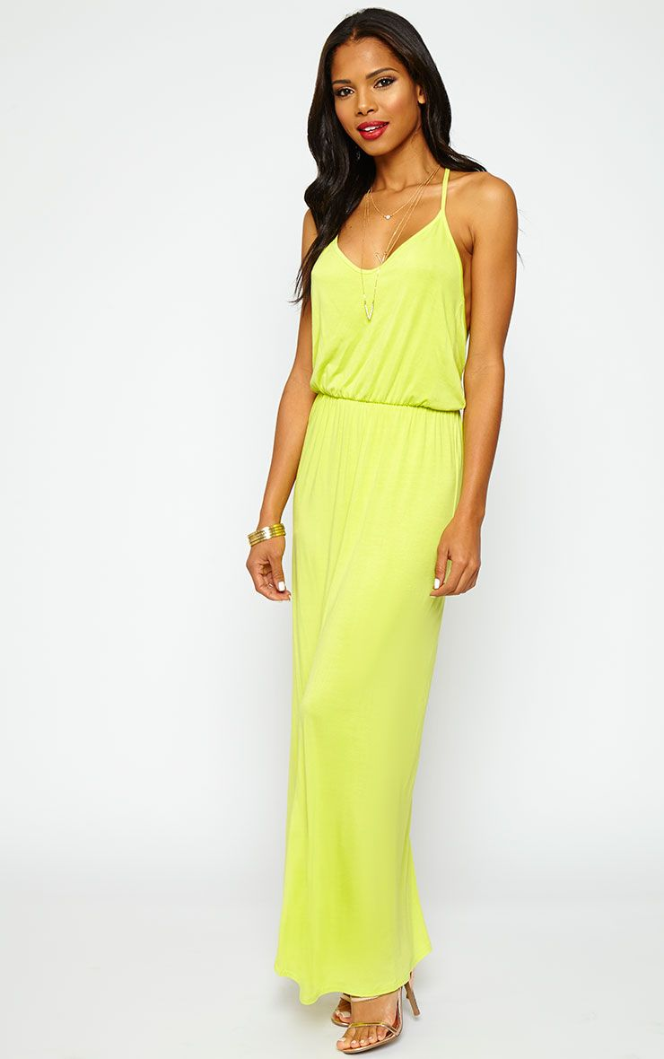 Emillie Lime T-Bar Back Jersey Maxi Dress 1