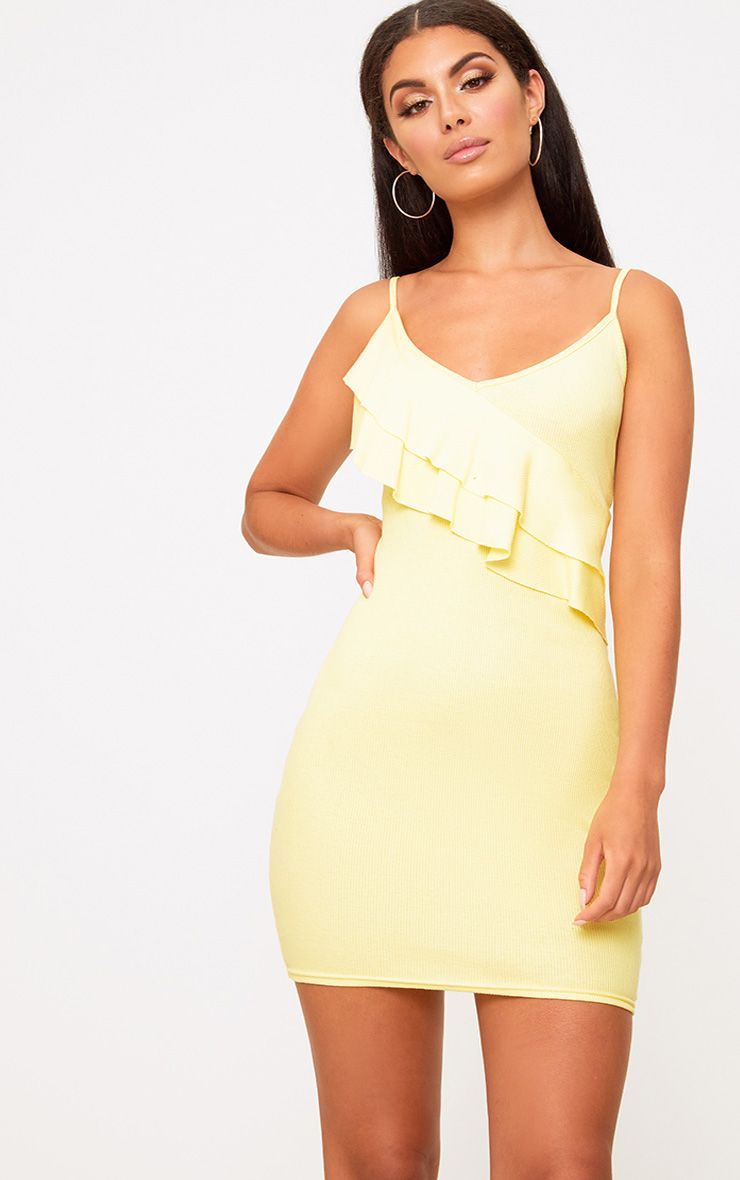 Lemon Ruffle Front Bodycon Dress