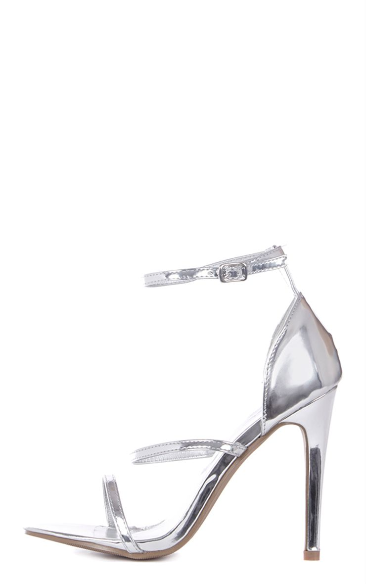 Amelia Silver Strappy Heeled Sandal 1