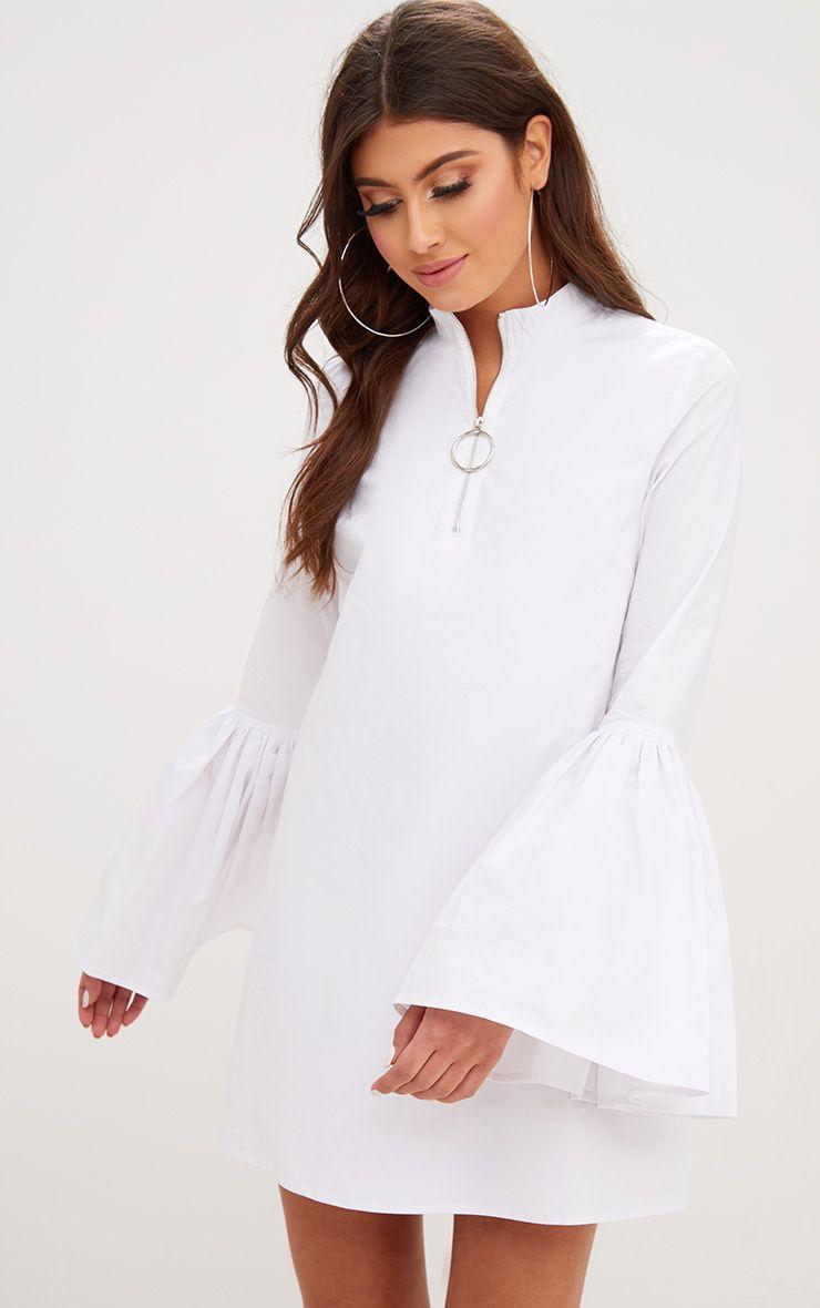 White Cotton Flared Sleeve Shift Dress