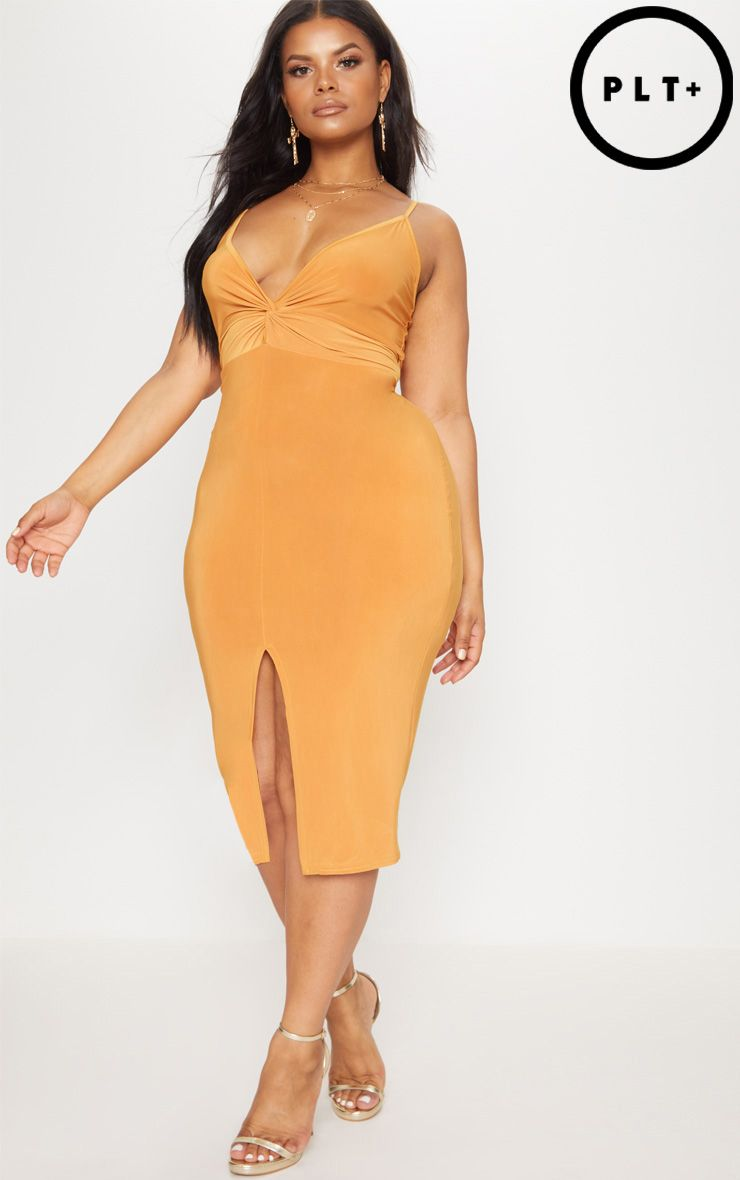 Plus Mustard Slinky Strappy Twist Front Midi Dress Pretty Little Thing Shopping Online Clearance Buy Cheap Manchester Great Sale F1Js1i