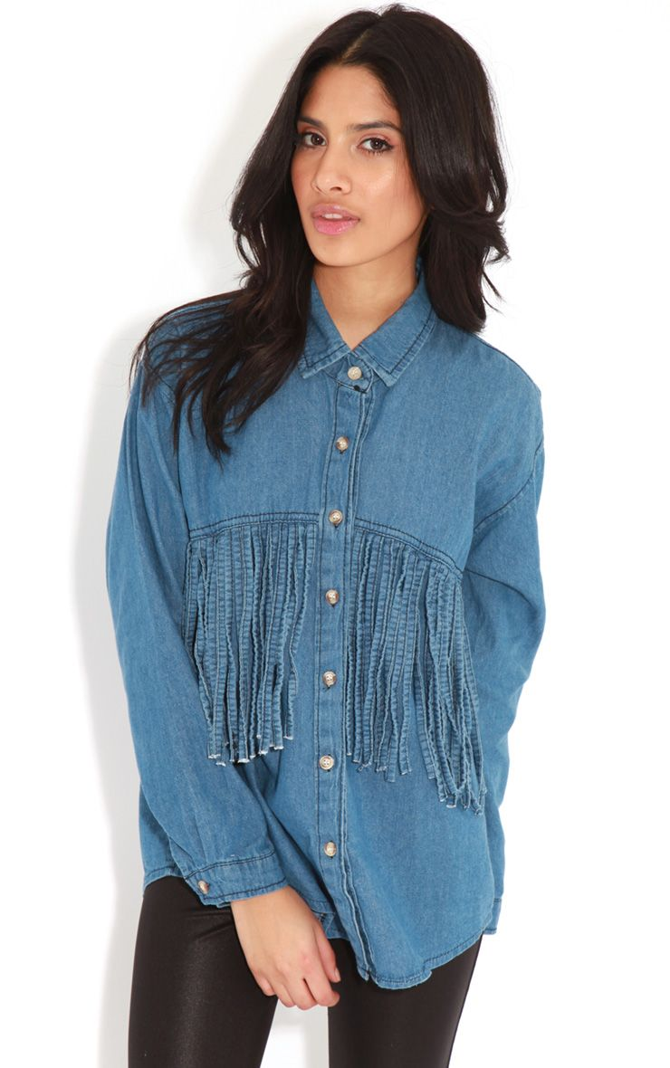 Renee Blue Denim Tassel Shirt 1