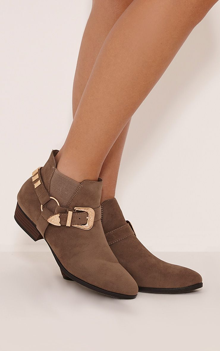 Boni Taupe Faux Suede Buckle Detail Ankle Boots 1