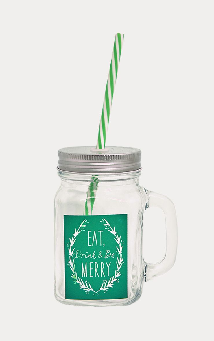 Green Christmas Slogan Drinking Jar