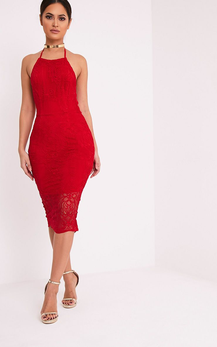 Kayana Red Lace Halterneck Midi Dress