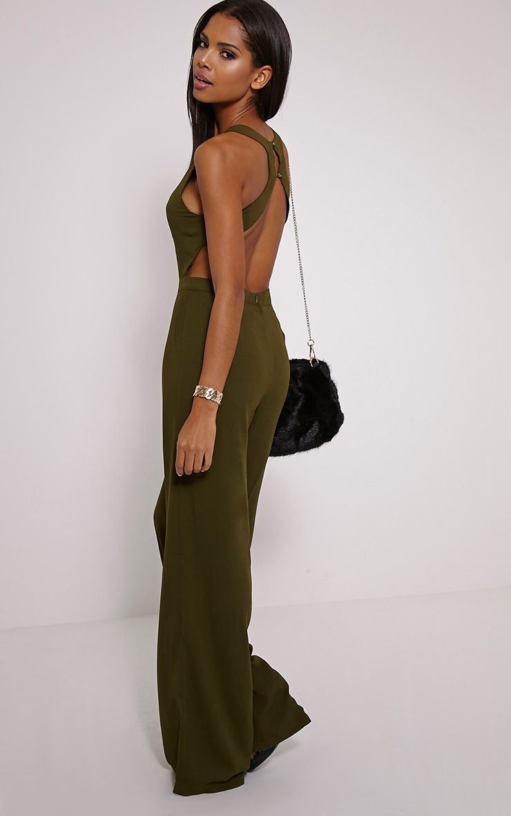 Talon Khaki Racer Back Jumpsuit