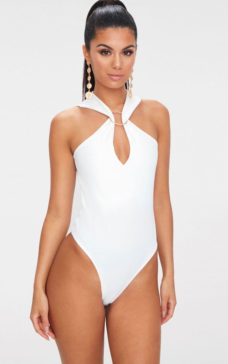 White Crepe O Ring Shoulder Strap Thong Bodysuit