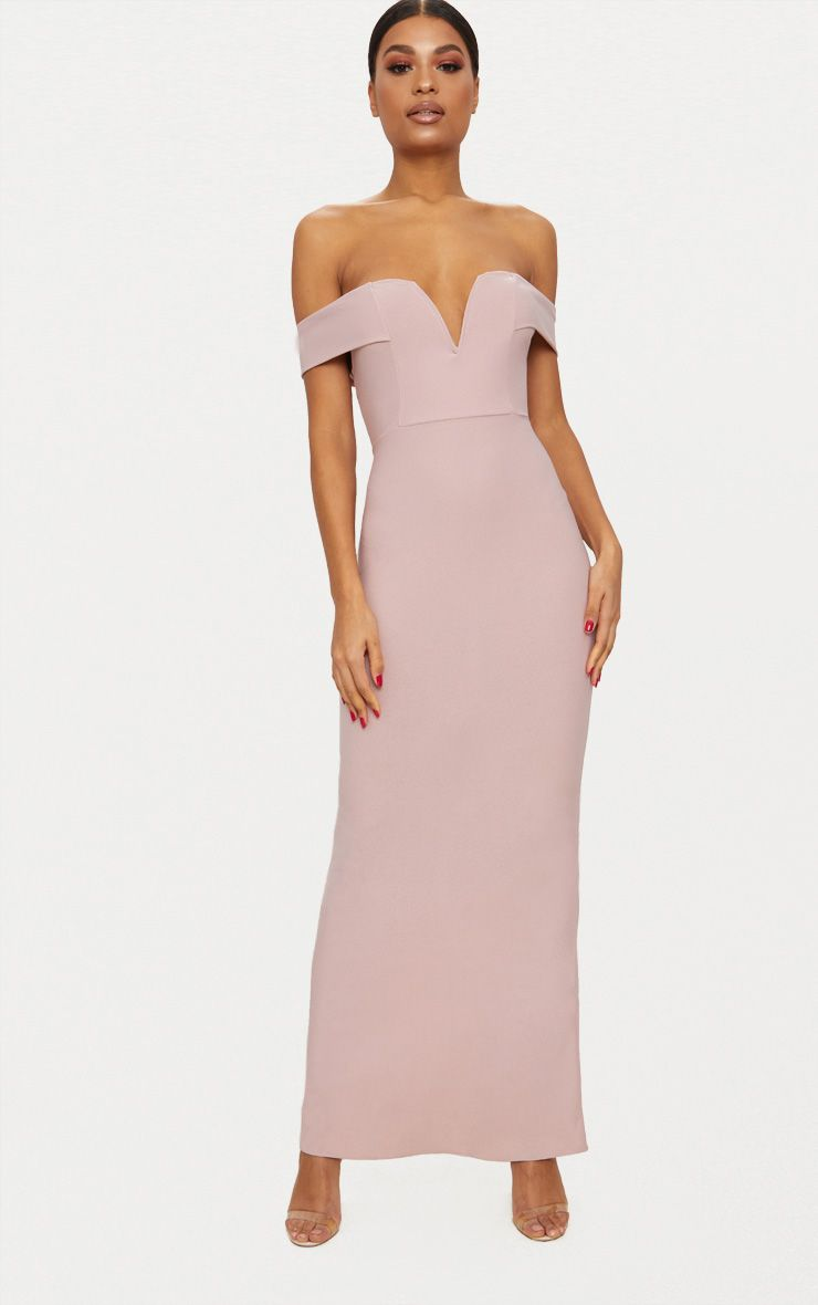 Dusty Pink Bardot V Plunge Maxi Dress