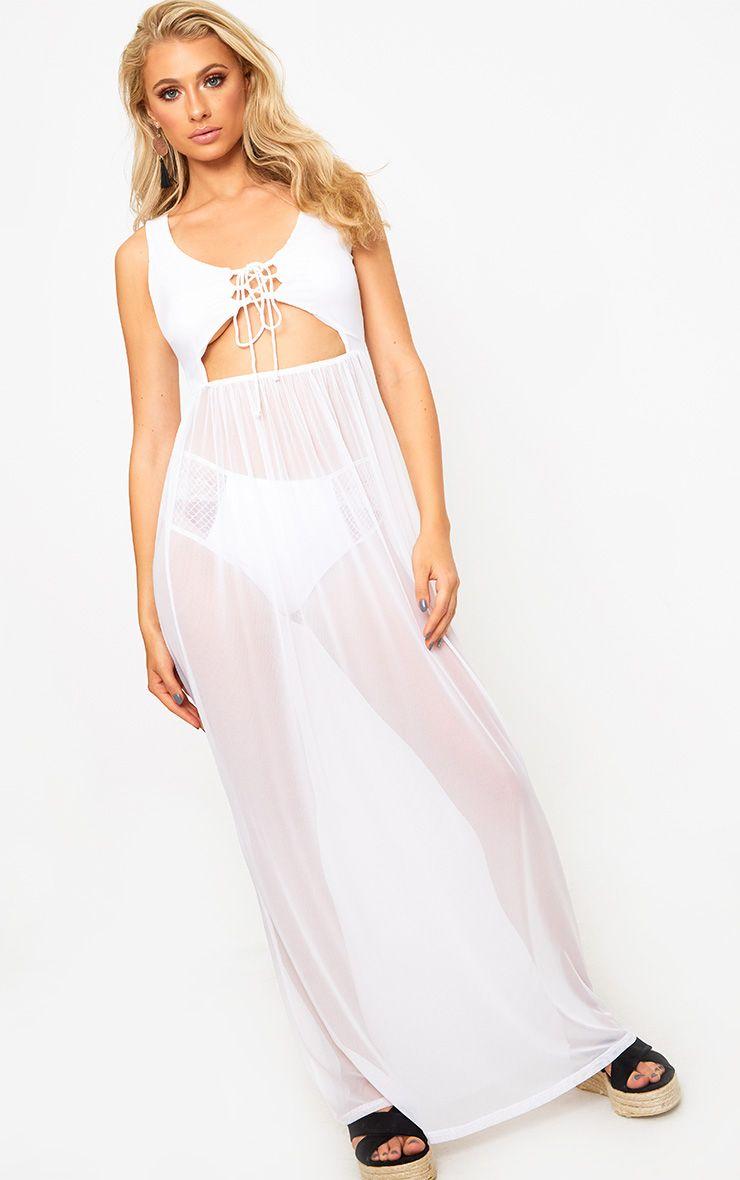 White Sheer Tie Front Mesh Maxi Dress
