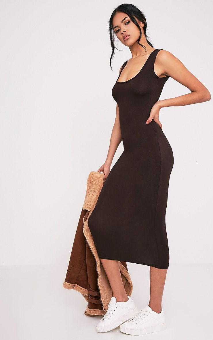 Mirah Brown Scoop Neck Midaxi Dress