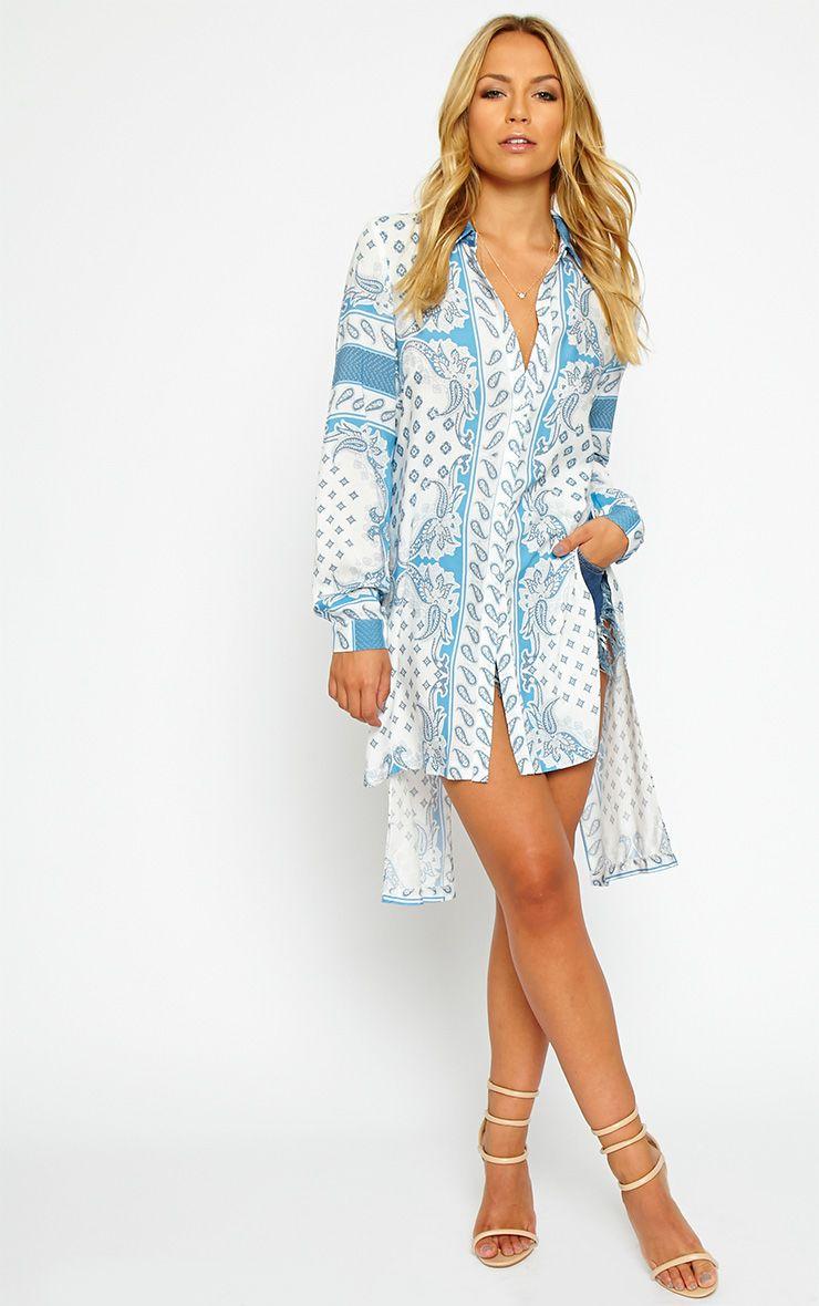 Katrina White Paisely Print Shirt Dress 1