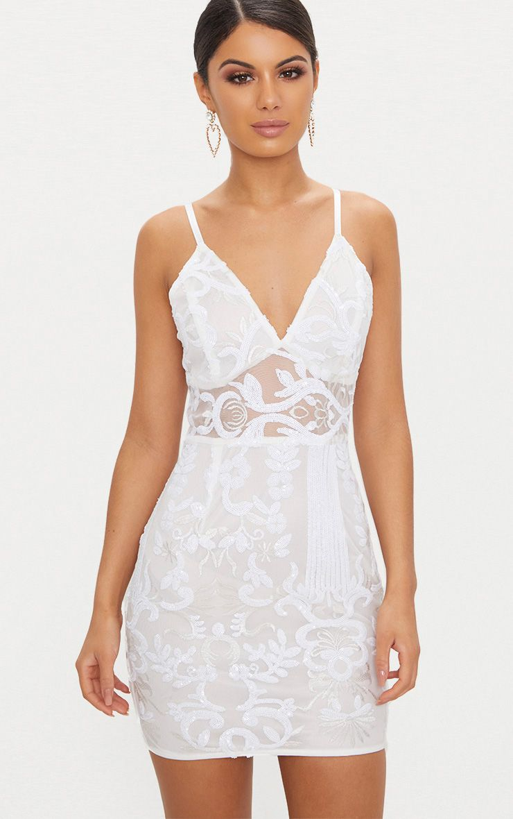 White Strappy Sheer Panel Sequin Bodycon Dress 1