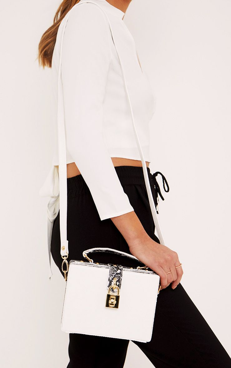 Zara White Padlock Box Bag 1