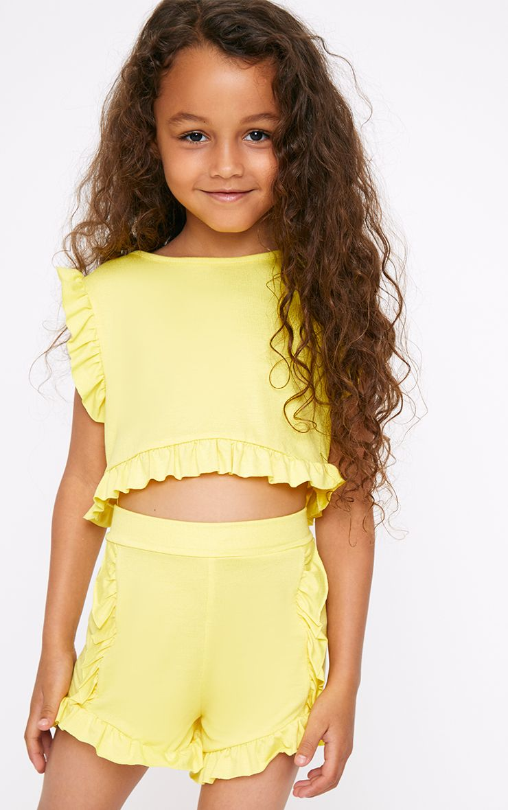Yellow Ruffle Detail Shorts