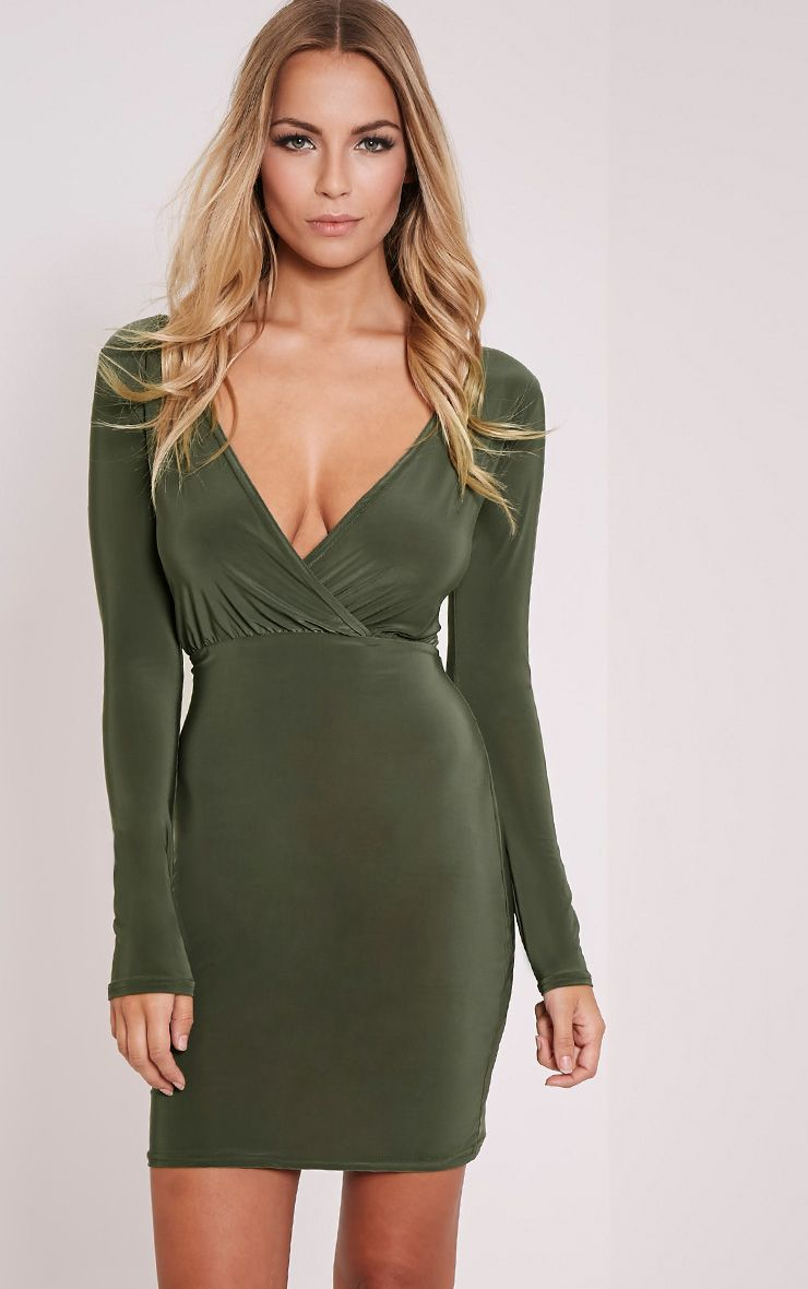 Brylie Khaki Cross Front Mini Dress