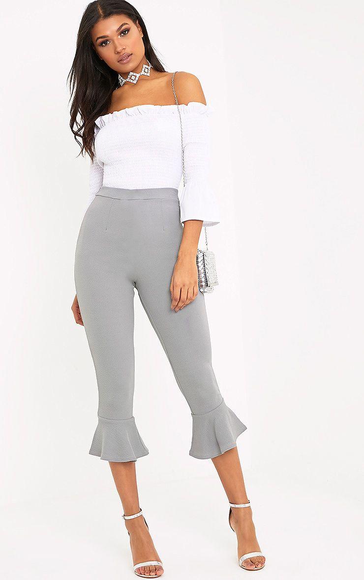 Grey Flare Hem Trouser