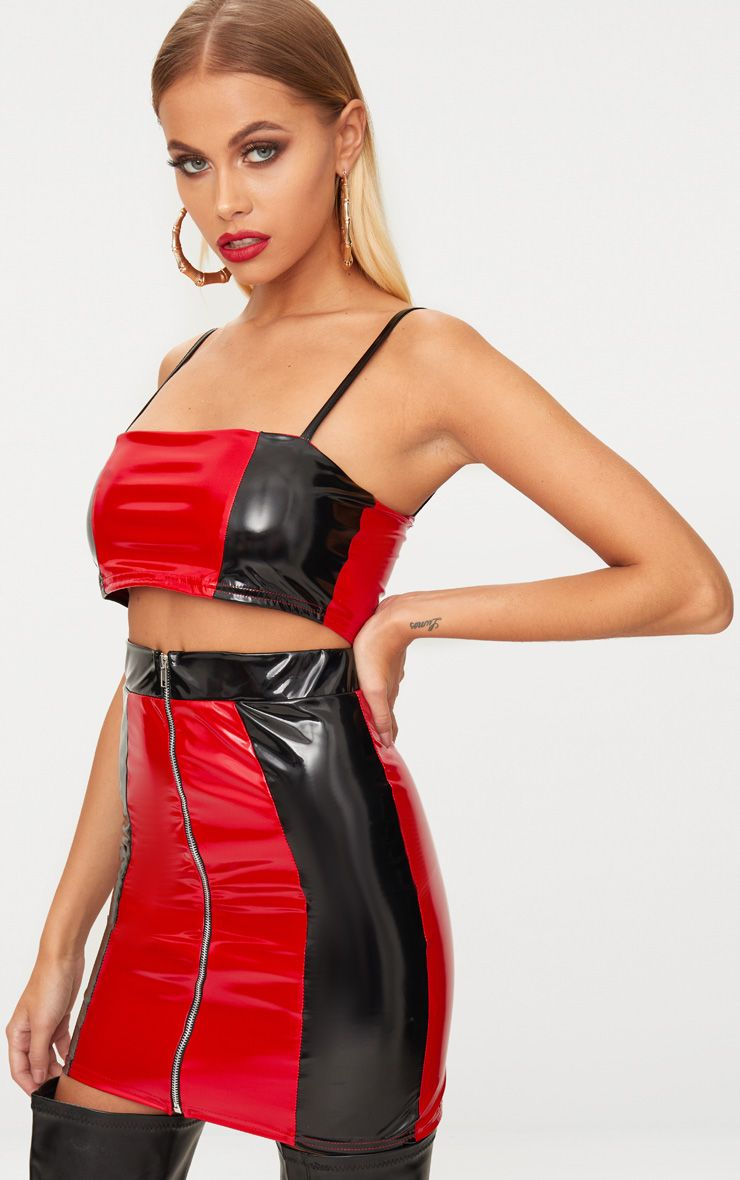 Red & Black Vinyl Contrast Mini Skirt