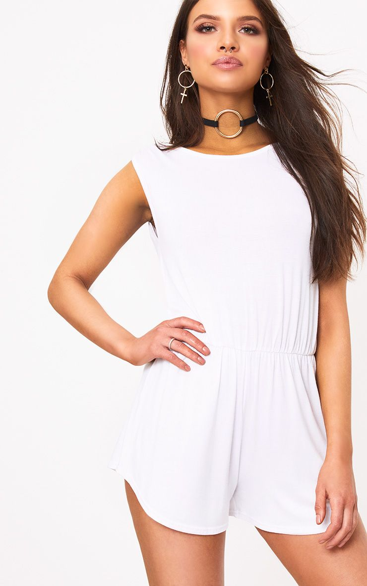 Braylee Basic White Playsuit