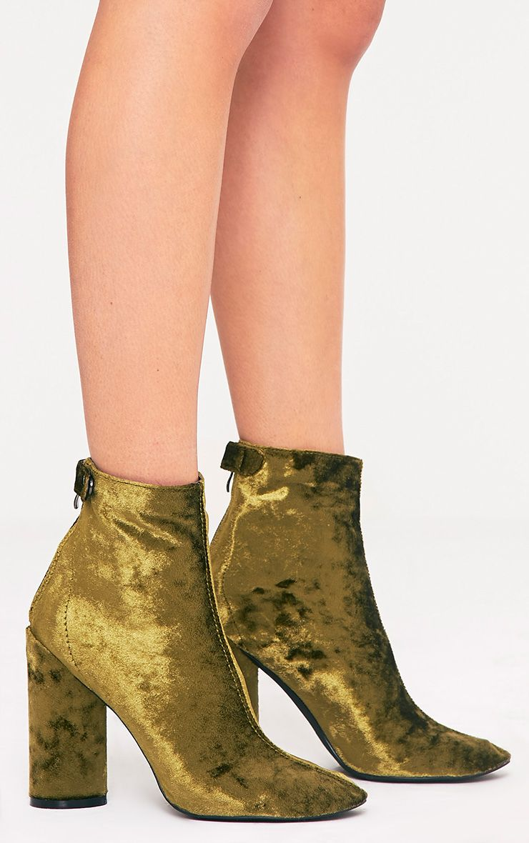 Amie Olive Velvet Heeled Ankle Boots 3