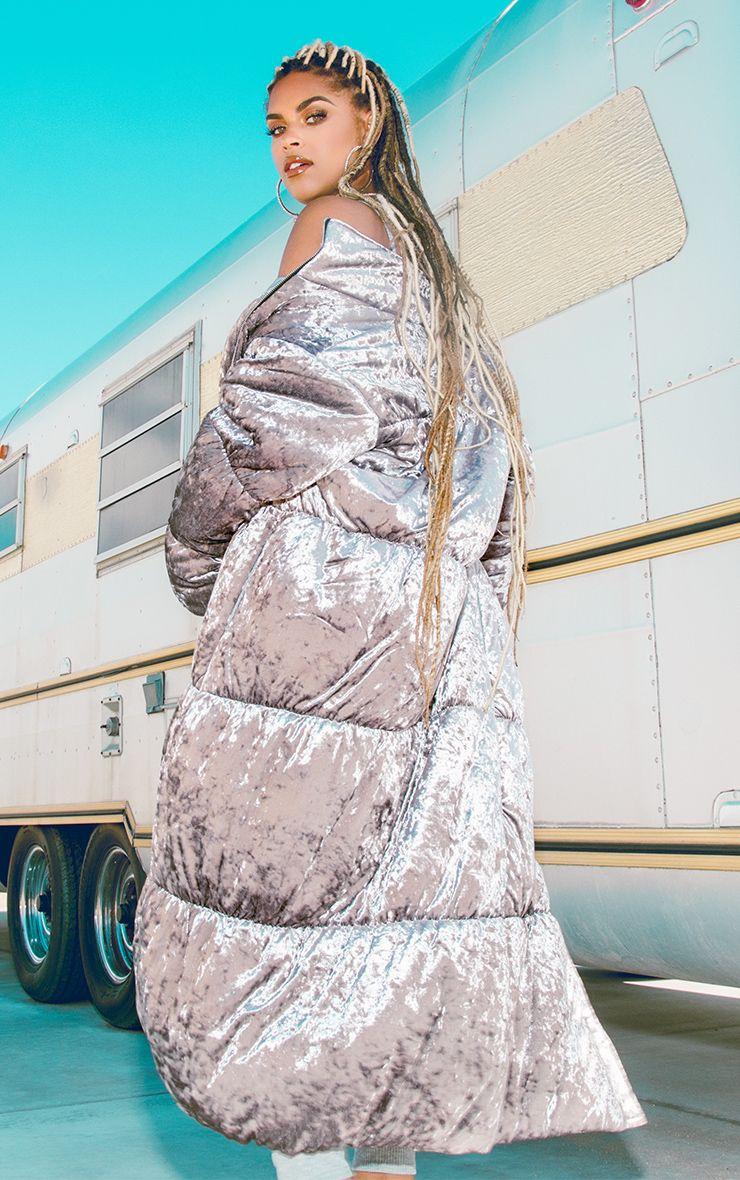 Grey Velvet Longline Puffer Coat 1