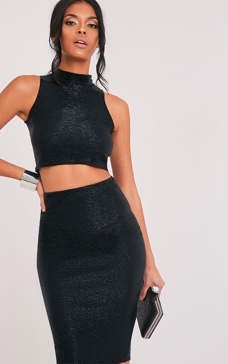 Tamera Black Metallic Crinkle Sleeveless Crop Top