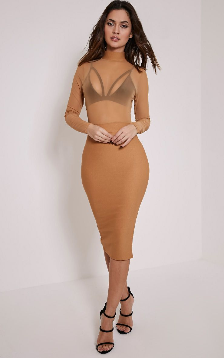 Kelly Camel Mesh Top Midi Dress 1