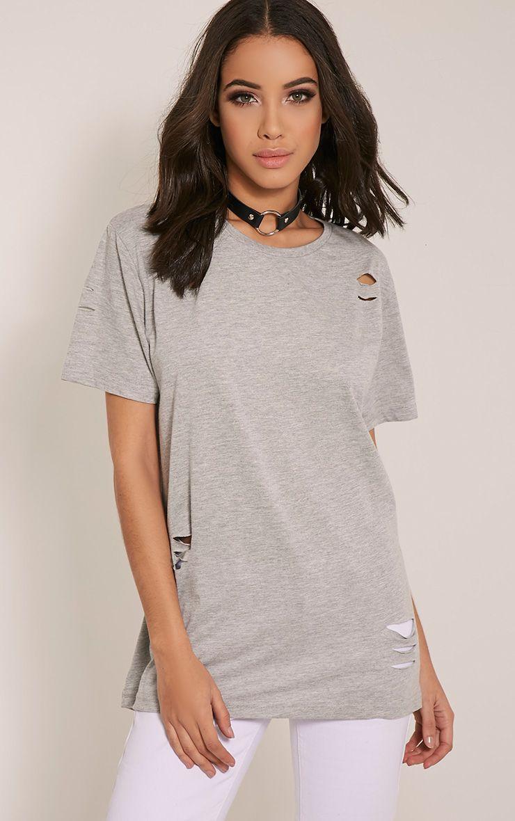 Zinnia Grey Ripped Oversized Boyfriend T-Shirt 1