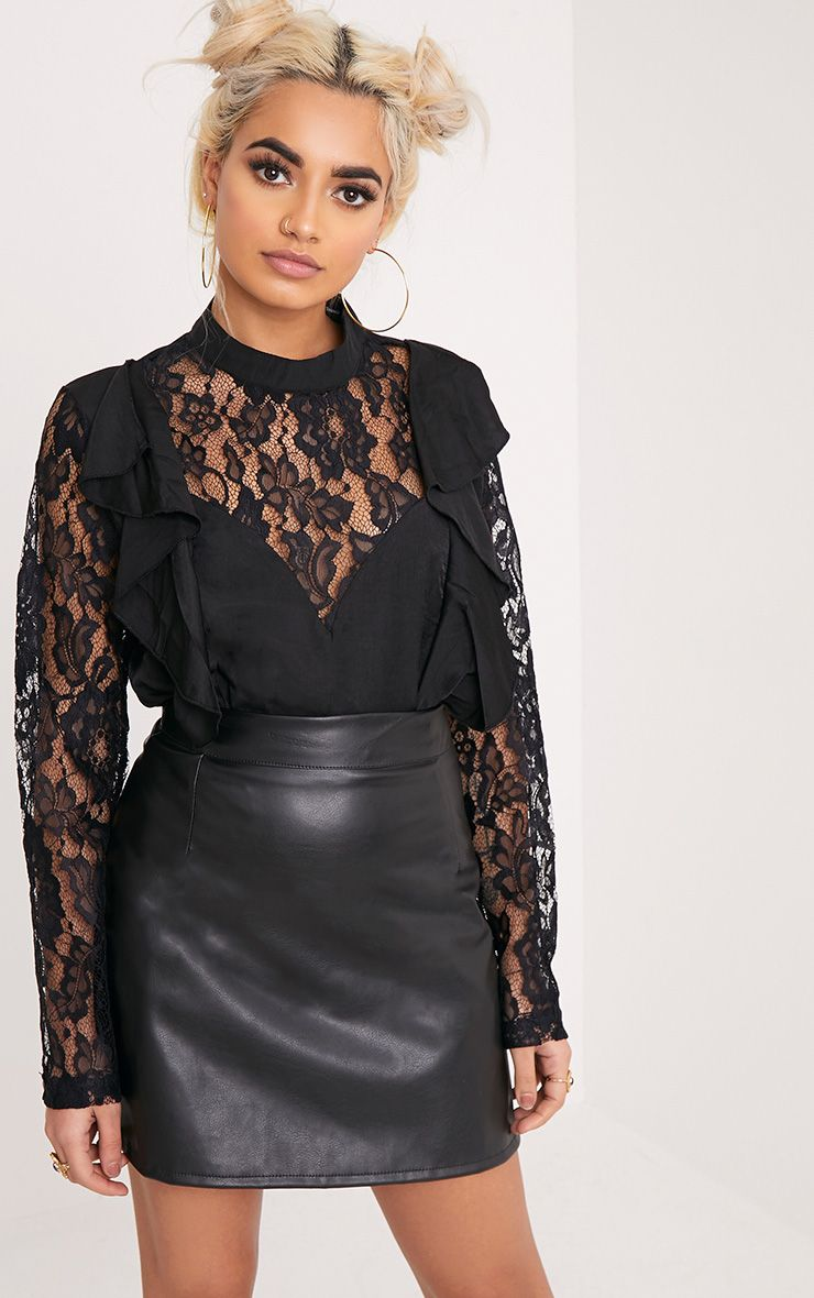 Becki Black Ruffle Lace Sleeve High Neck Blouse