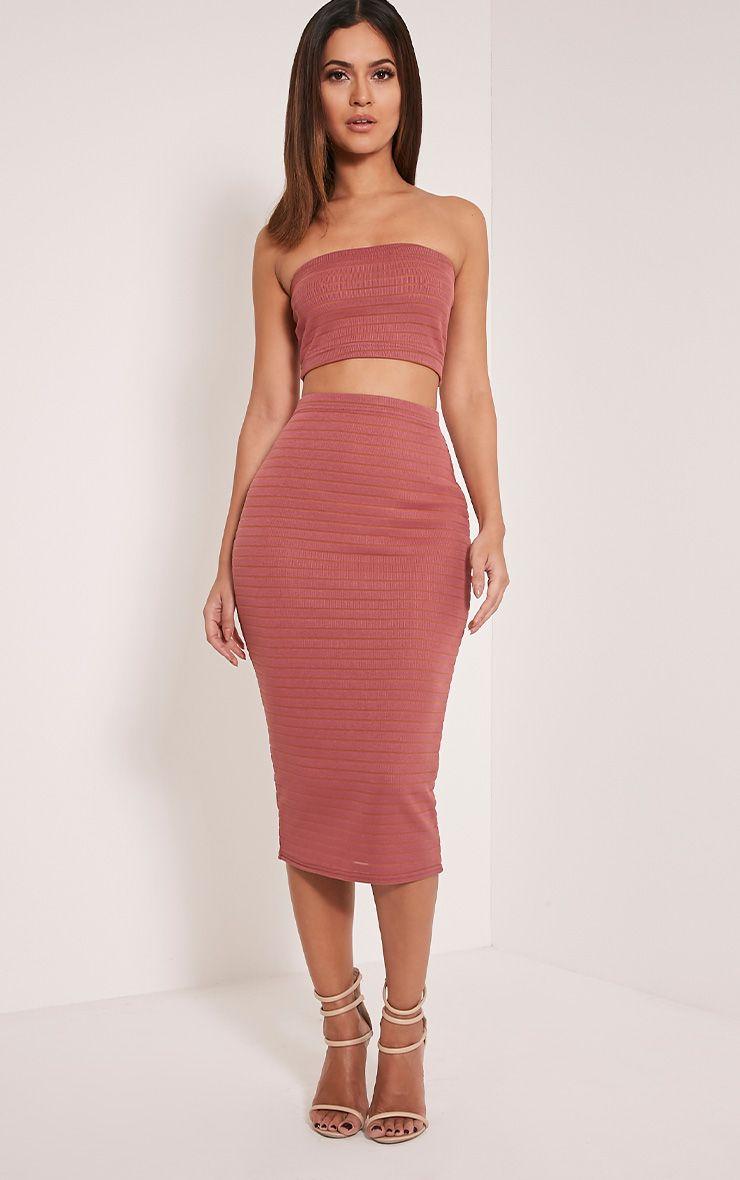 Kara Rose Stripe Ribbed Midi Skirt 1