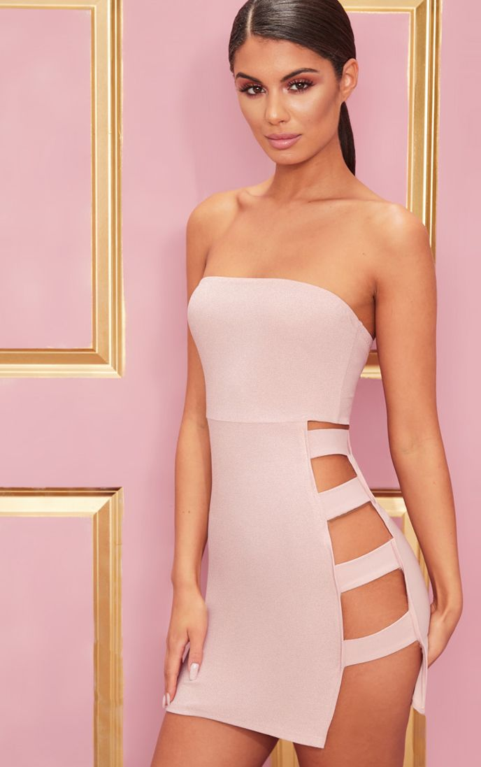 Rose Crepe Split Side Bandeau Bodycon Dress
