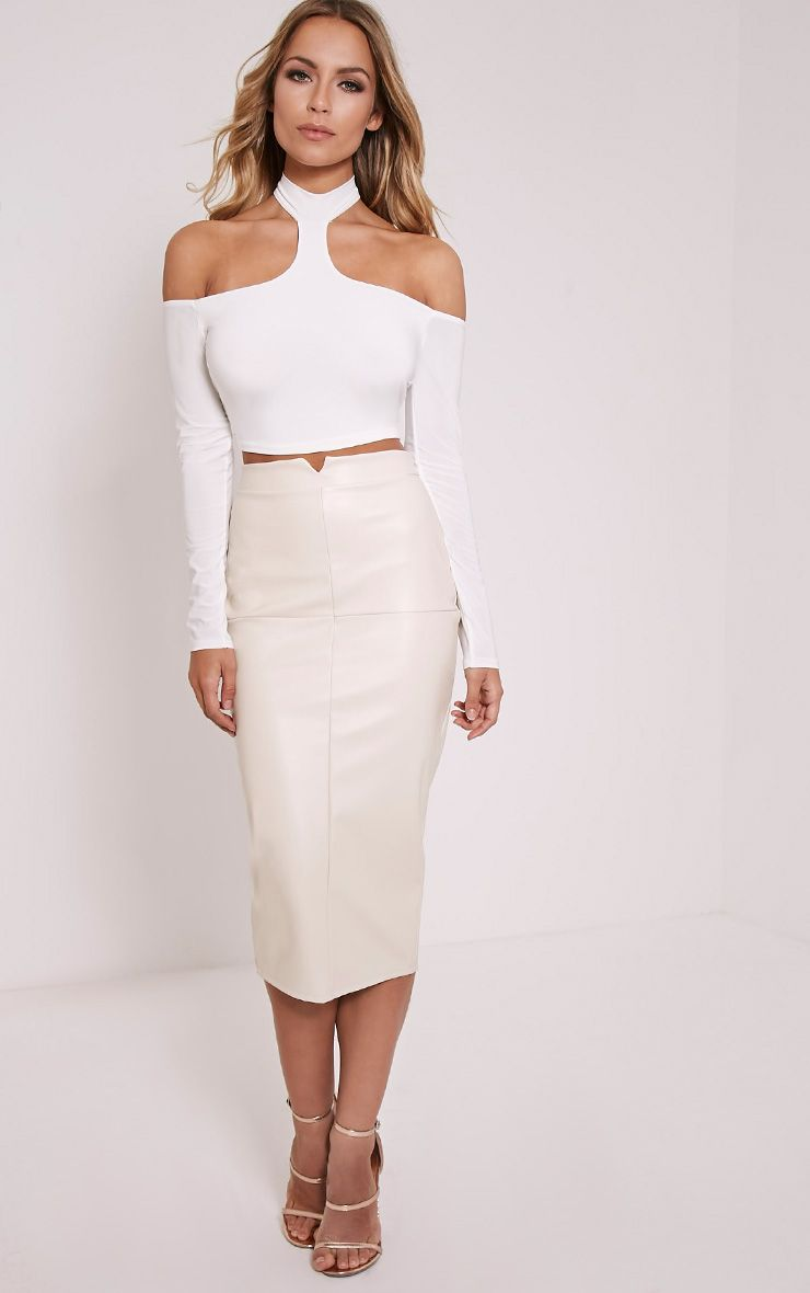 Eva Stone Faux Leather Panel Midi Skirt 1