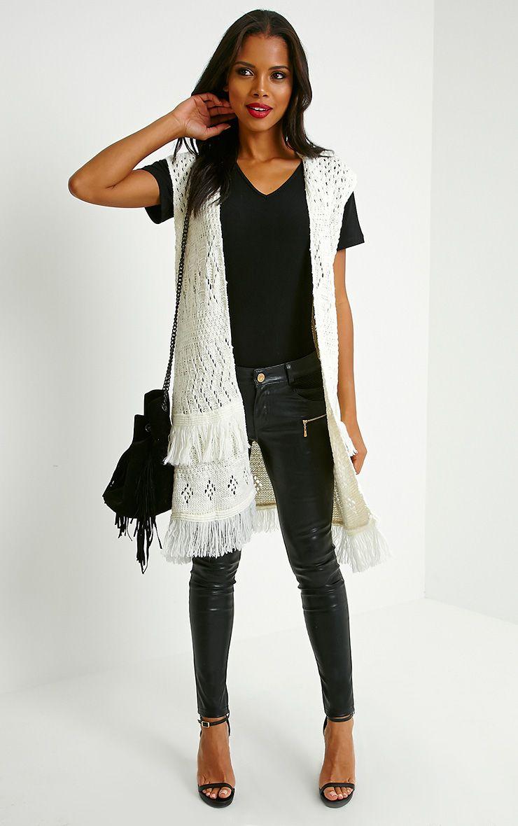 Isa Cream Fringe Knitted Cardigan 1