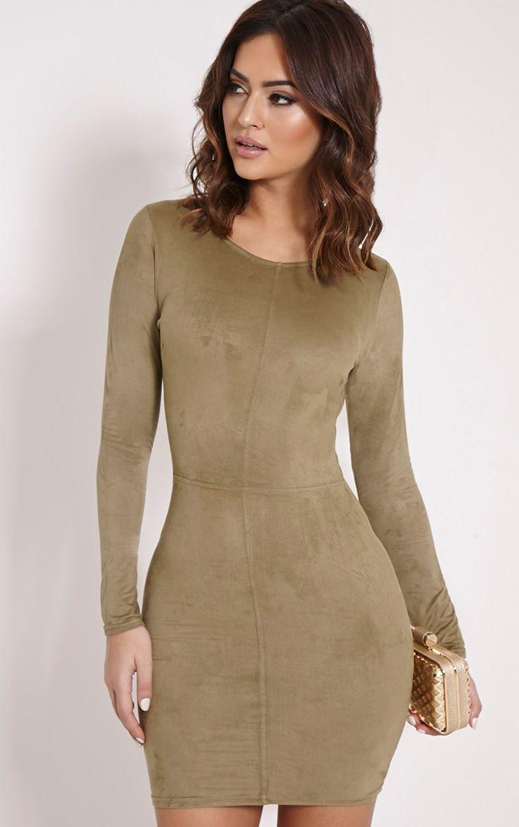 Braelynn Khaki Faux Suede Long Sleeved Mini Dress 1