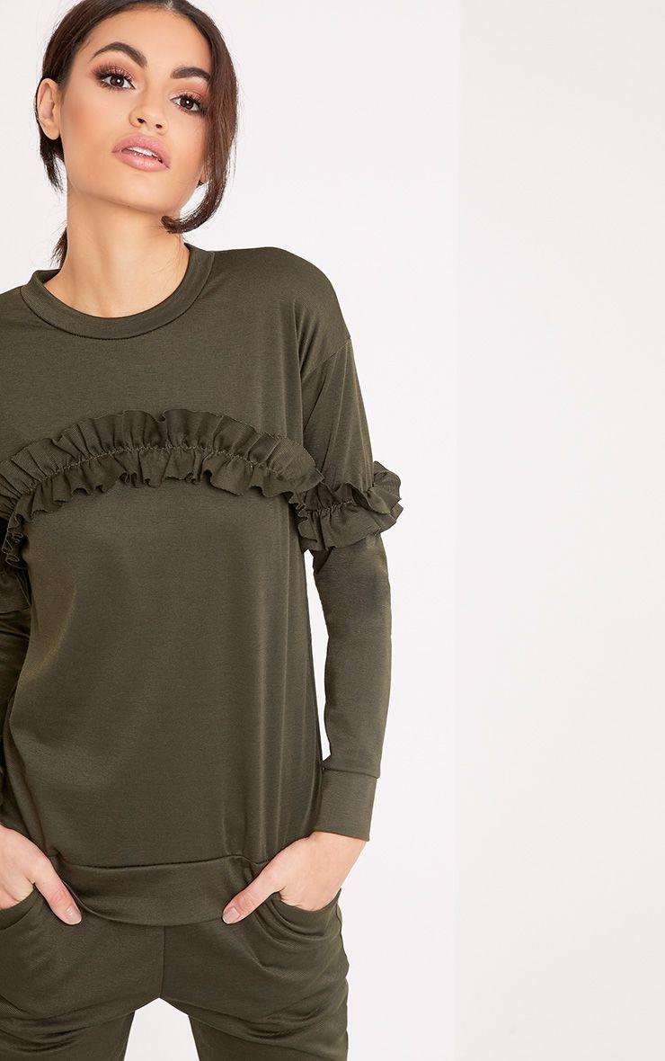 Anabell Khaki Frill Sweater