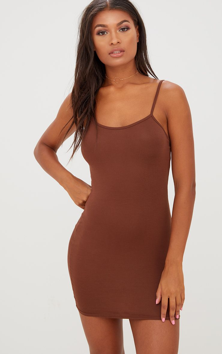 Chocolate Brown Strappy Bodycon Dress