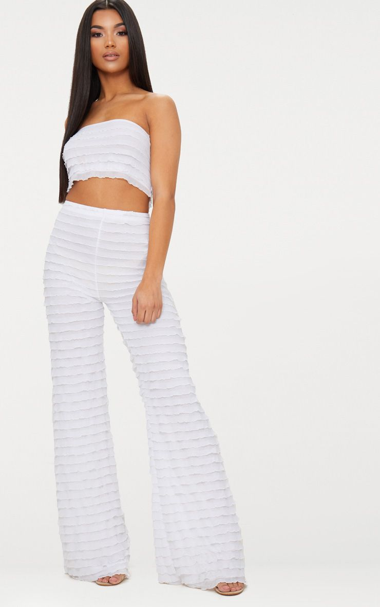 WHITE FRILL WIDE LEG TROUSER