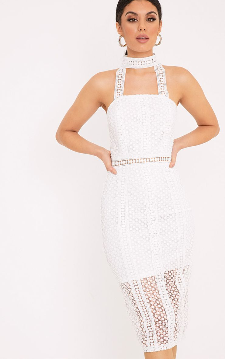 Bella White High Neck Lace Panel Midi Dress 1