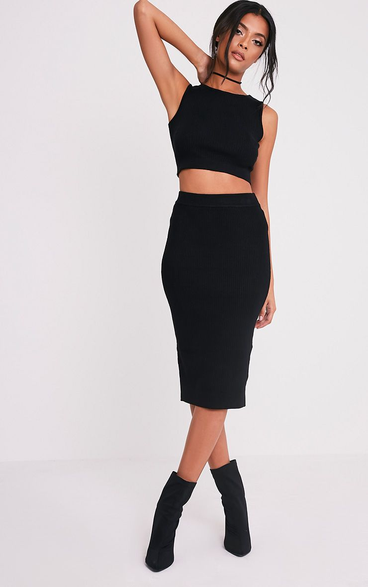 Taegan Black Ribbed Knitted Midi Skirt