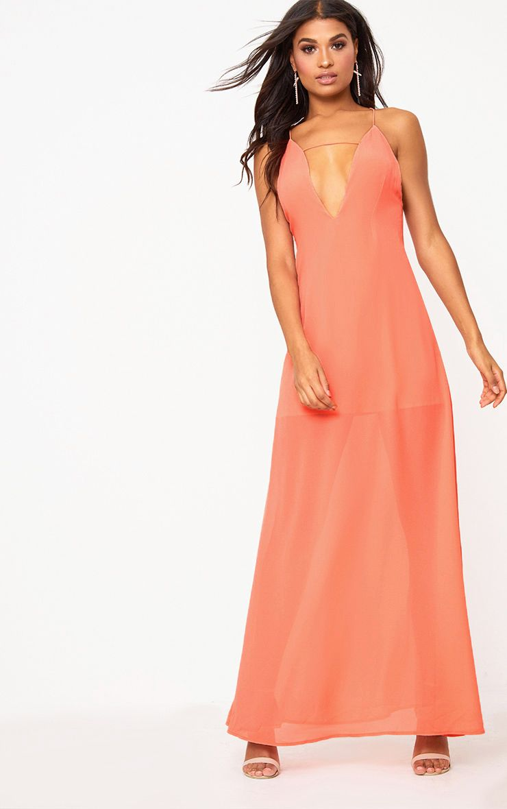 Coral Knot Back Maxi Dress