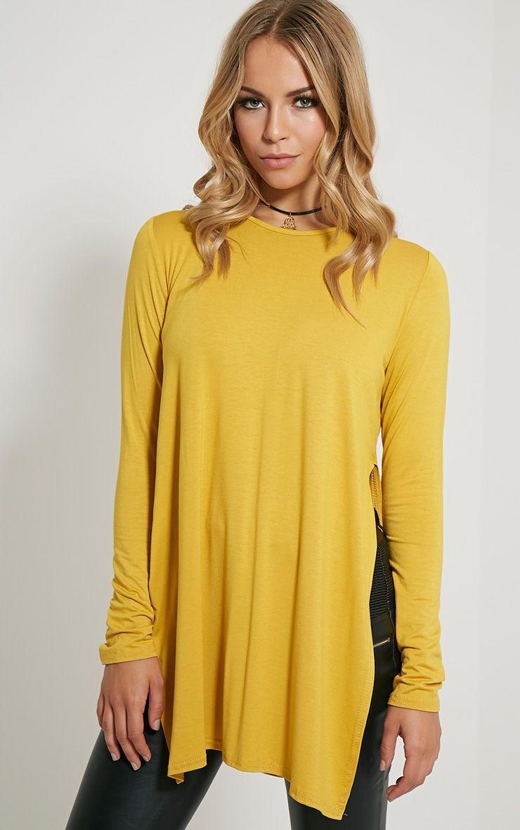 Basic Mustard Long Sleeve Side Split Top 1