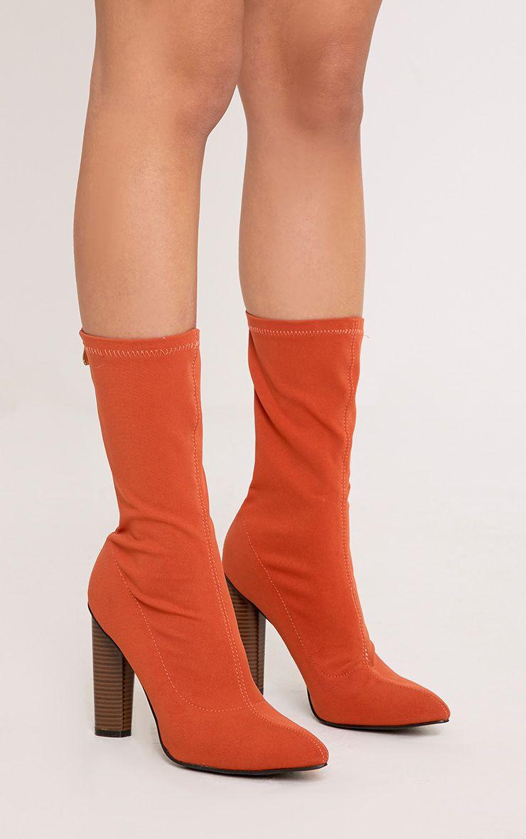 Jayleen Orange Wooden Heel Sock Boots