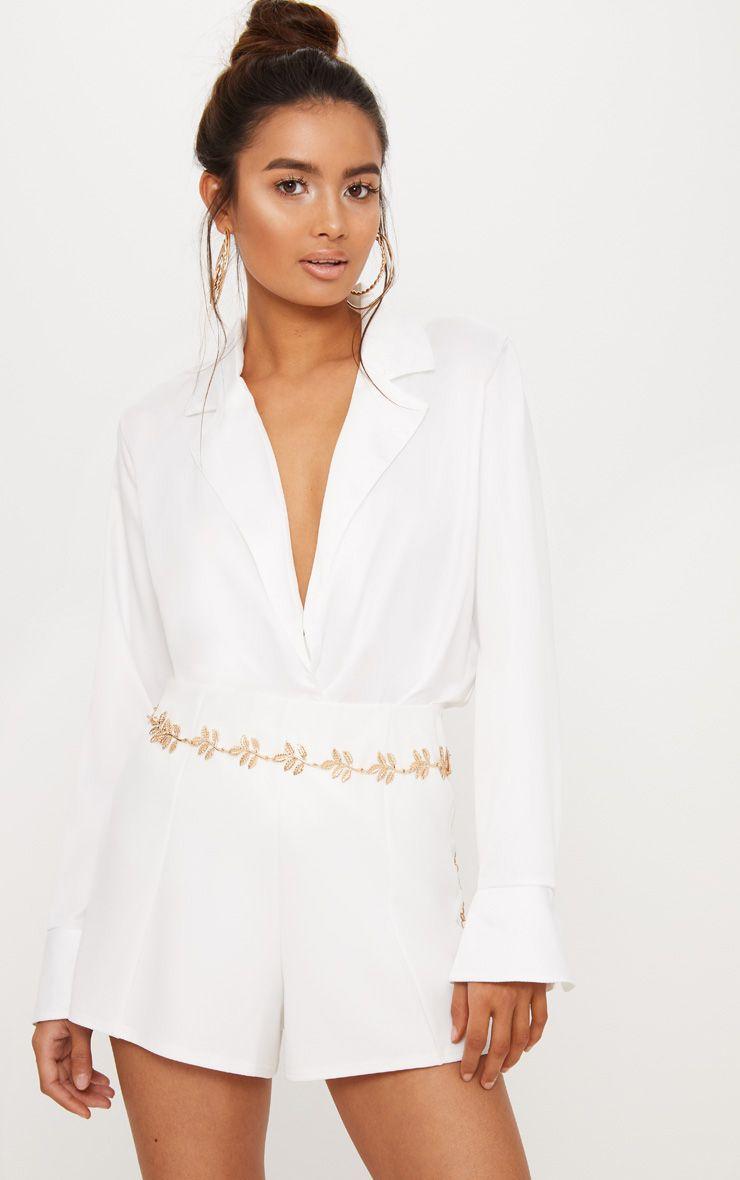 Cream Satin Tux Bodysuit