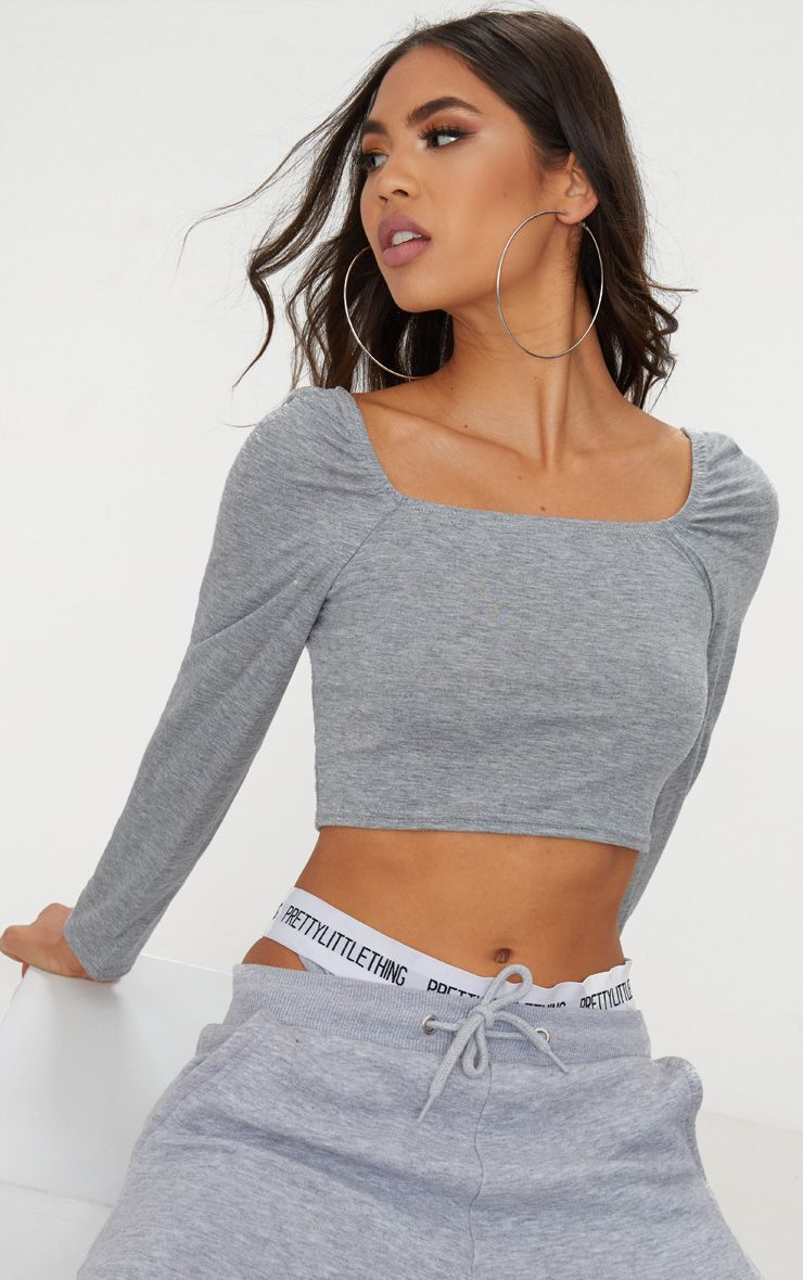 Basic Grey Marl Jersey Square Neck Long Sleeve Crop Top