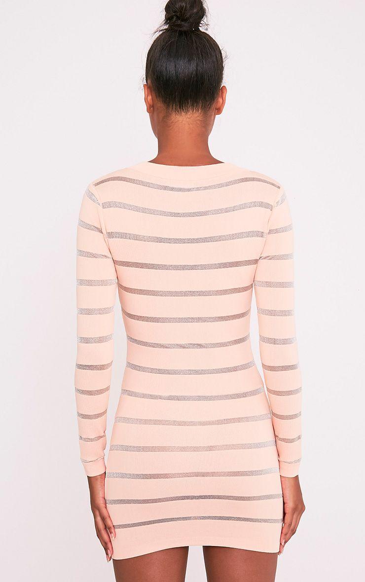 Jamesina robe mini tricotée chair à empiècements en tulle 2