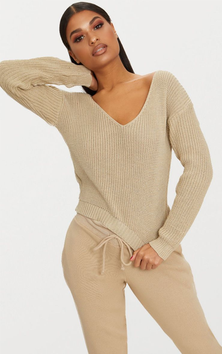 Stone V Neck Cropped Jumper