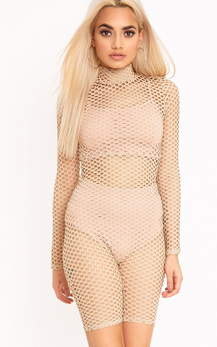 Kloe Nude Fishnet Unitard