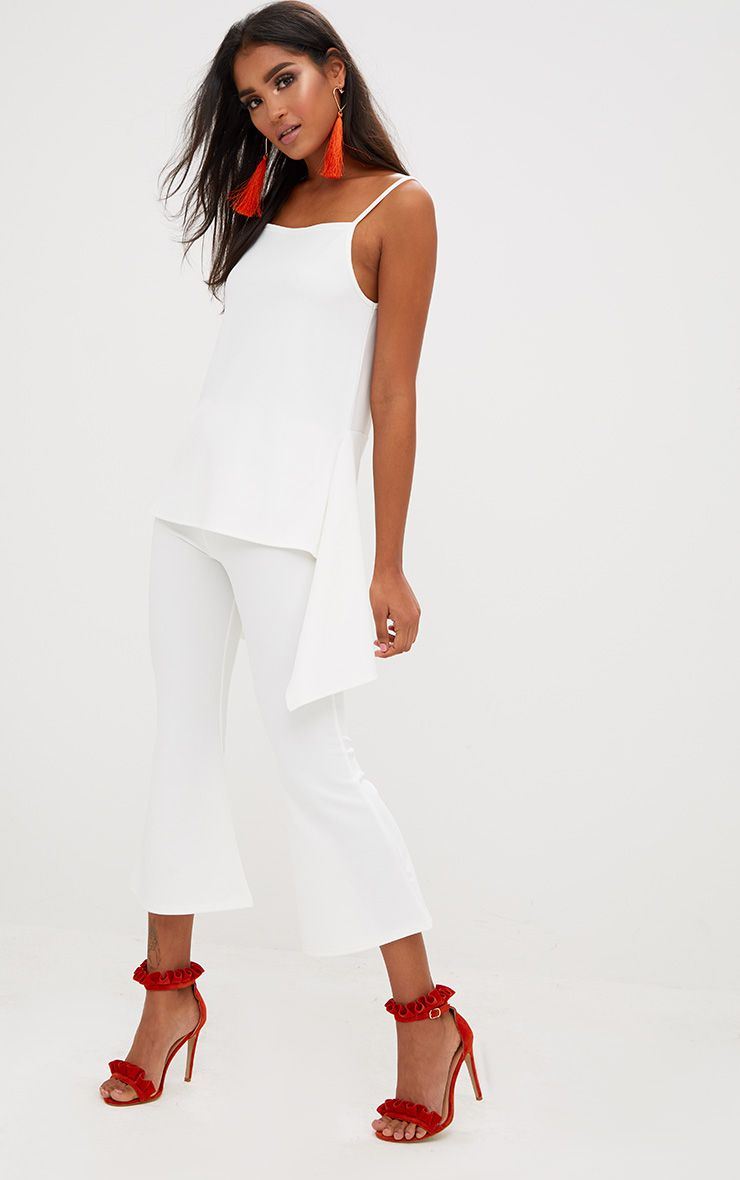White Cropped Flare Trousers
