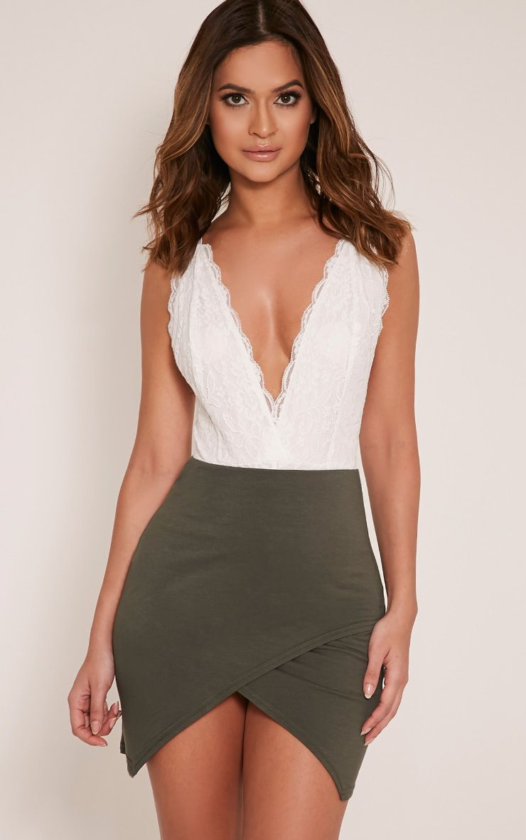 Myla Khaki Wrap Mini Skirt 1